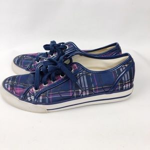 Coach Plaid Canvas Sneakers Size 7B